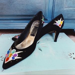 VINTAGE J Renee Gem Embellished Black Heels